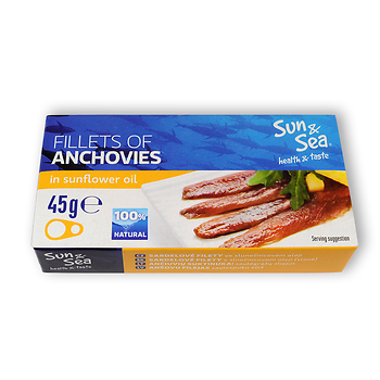 Sardelové filety ve slunečnicovém oleji 45g SUN&SEA