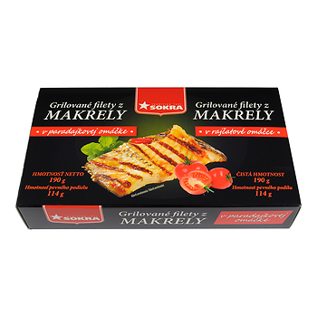 Grilované filety z makrely v rajčatové omáčce 190g SOKRA